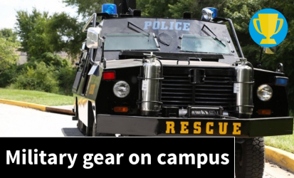 Tanks and grenade launchers on campus